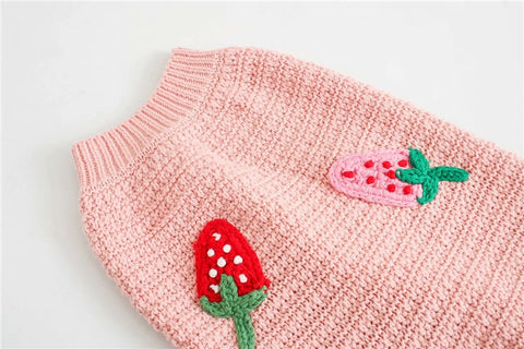 STRAWBERRY APPLIQUE KNITTED SWEATER