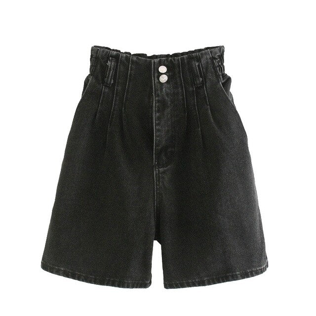 STRAIGHT DENIM SHORTS HIGH WAIST