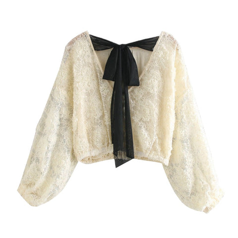 ORGANZA LACE CROPPED BLOUSE