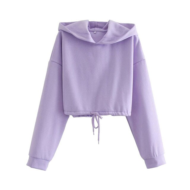DRAWSTRING TIED LOOSE CROPPED HOODIE