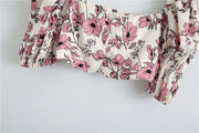 FLORAL PRINT CROPPED BLOUSE