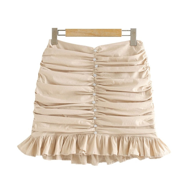 FASHION APPLIQUES RUFFLED PLEATED MINI SKIRT