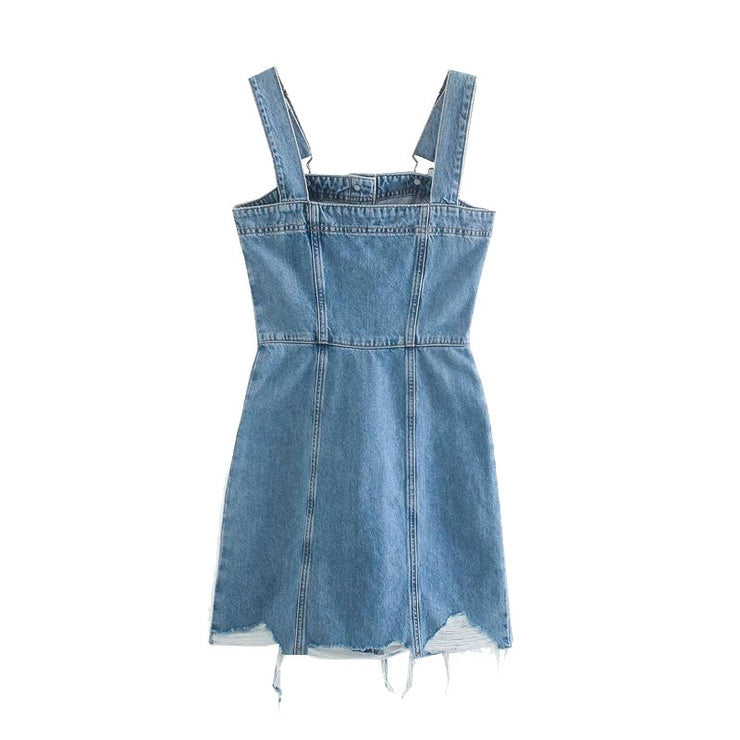 TASSEL DENIM MINI DRESS WITH ADJUSTABLE STRAPS
