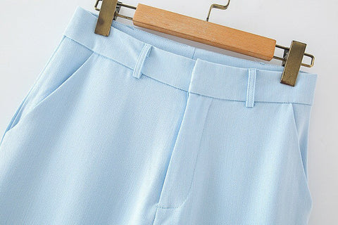 CYAN HIGH WAIST OFFICE TROUSERS