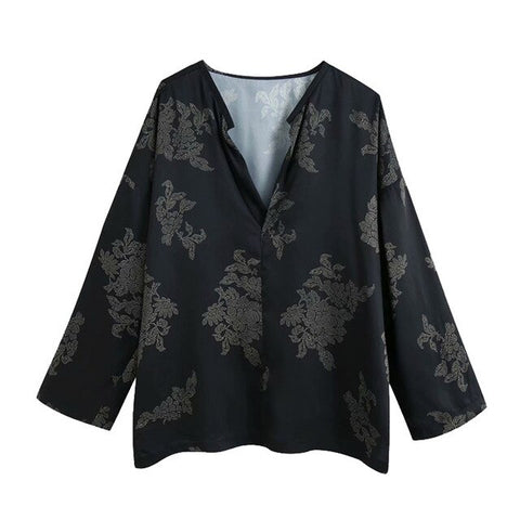 PRINT BLOUSE WITH SIDE VENTS