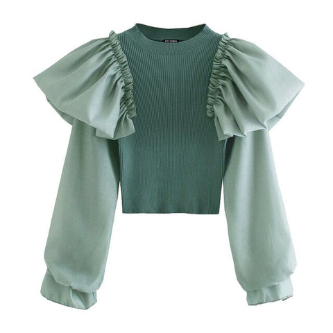 RUFFLE PATCHWORK CROPPED KNITTED BLOUSE