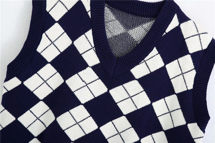 ENGLAND STYLE ARGYLE PATTERN KNITTED VEST
