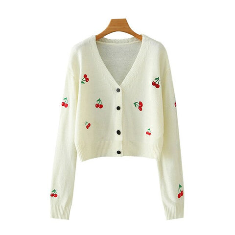 CHERRY EMBROIDERY CROPPED CARDIGAN