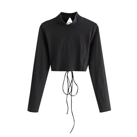 DRAWSTRING CROPPED BLOUSE