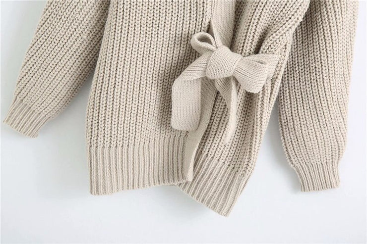 TIED WRAP LONG KNITTED CARDIGAN