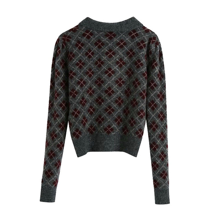 ARGYLE CROPPED KNITTED SWEATER