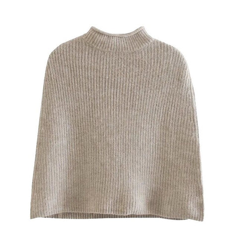 CROPPED KNITTED CAPE SWEATER