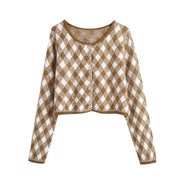 ARGYLE CROPPED KNITTED CARDIGAN