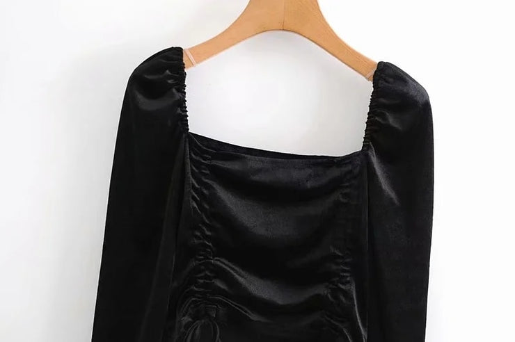 TIED VELVET CROPPED BLOUSE