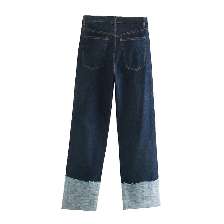FOLDED UP WIDE LEG JEANS