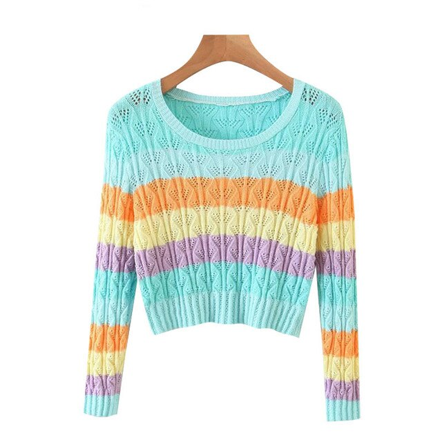 COLOR STRIPED KNITTED SWEATER WITH SKIRT