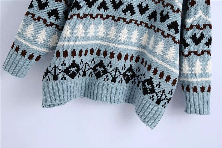 OVERSIZED JACQUARD KNITTED SWEATER