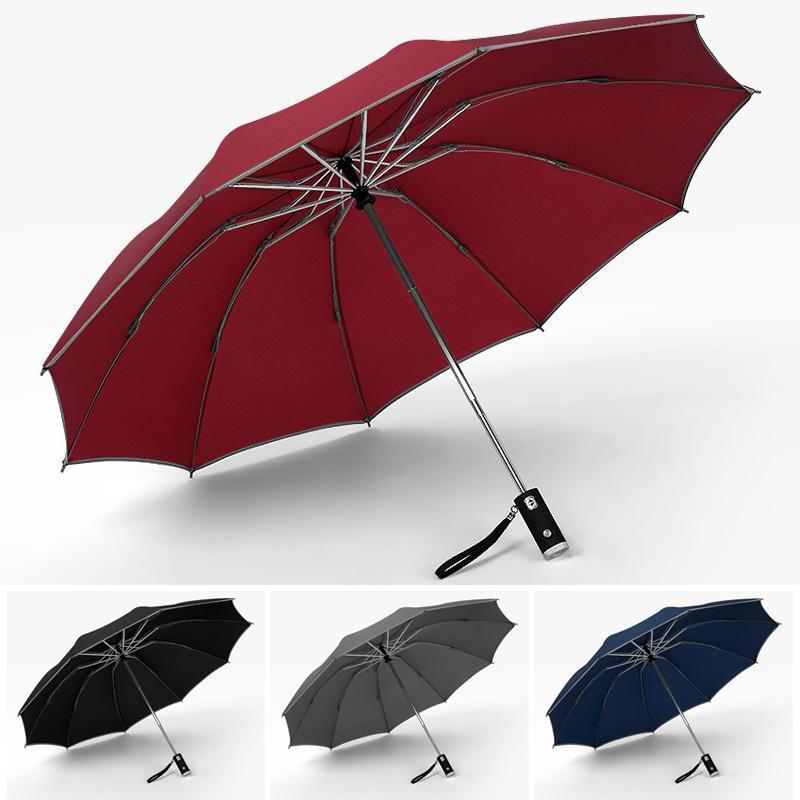 Automatic Folding Umbrella With Reflective Stripe