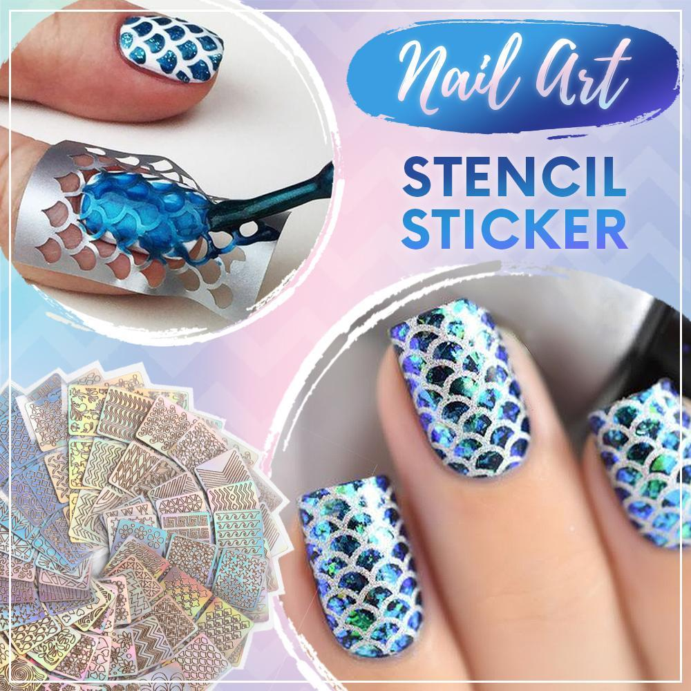 Nail Art Stencil Sticker [144 stickers] LuckCharmer