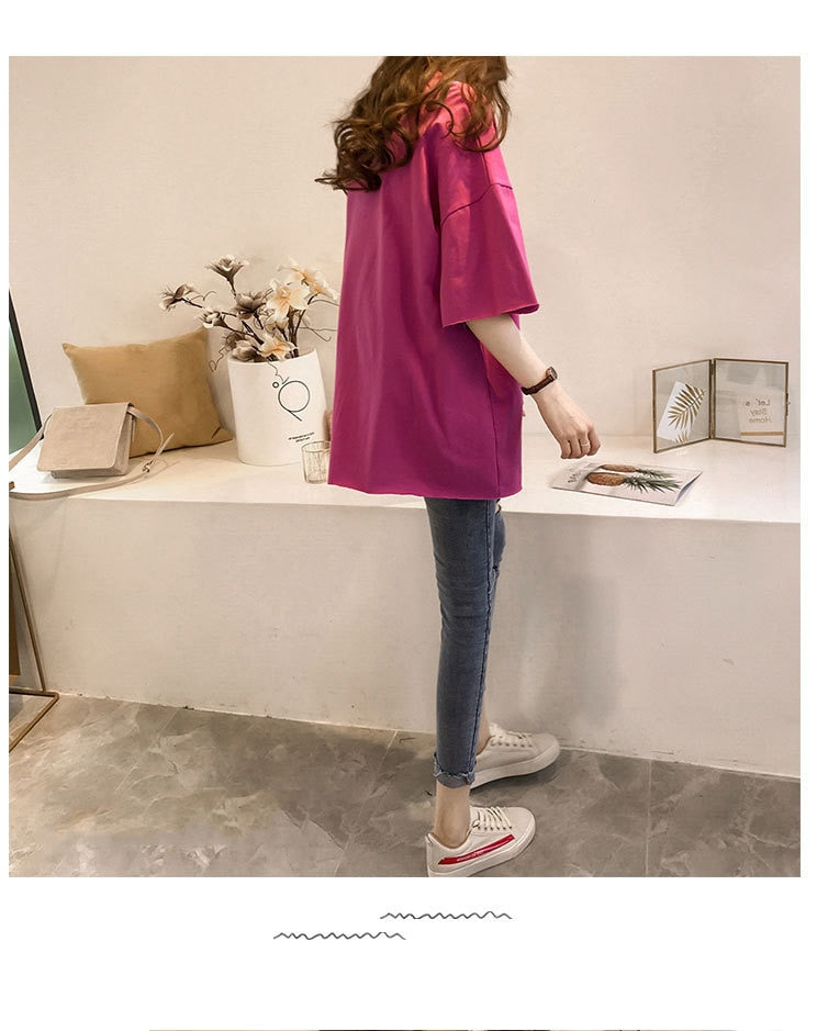 Candy Color Short Sleeve Loose T-Shirts