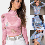 Load image into Gallery viewer, Women See-through Sheer Mesh Fishnet T-Shirt