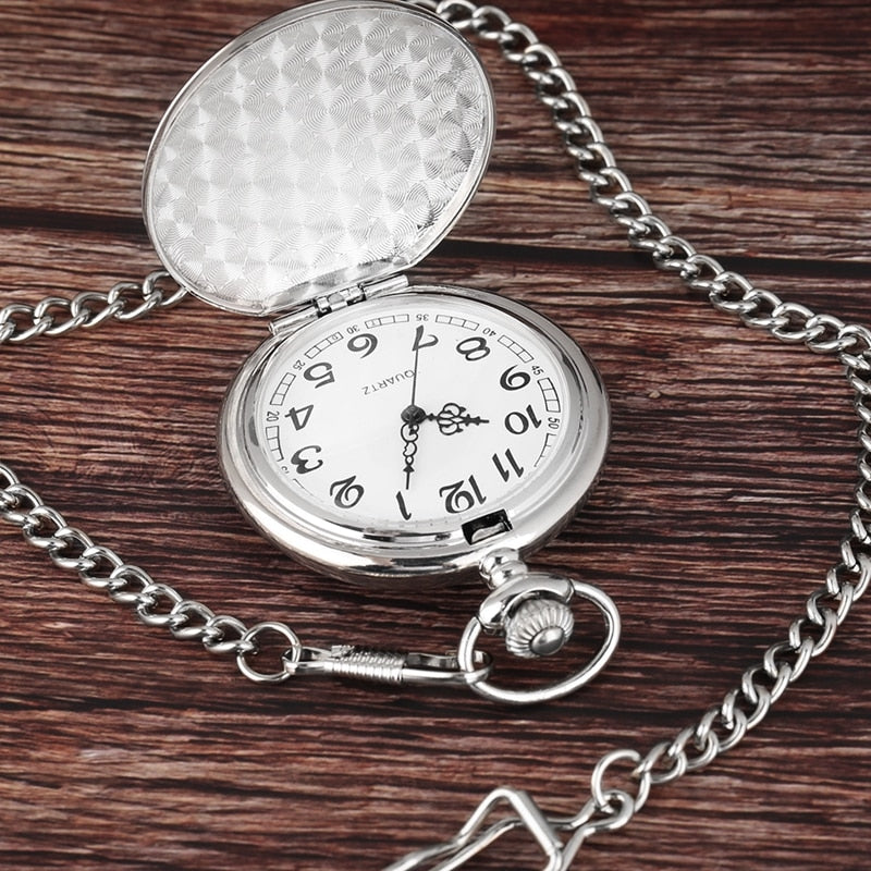 Retro Black Fashion Silver Smooth Steampunk Quartz Pocket Watch