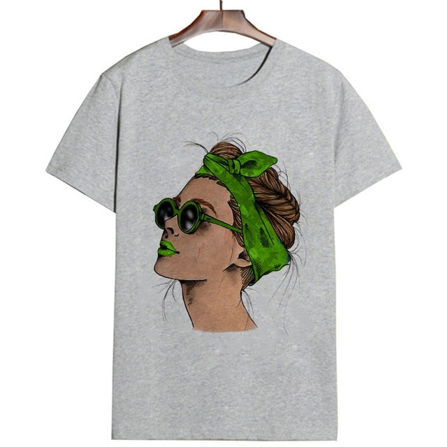 Plus Size Women Summer Vogue Print Lady Casual T-shirt