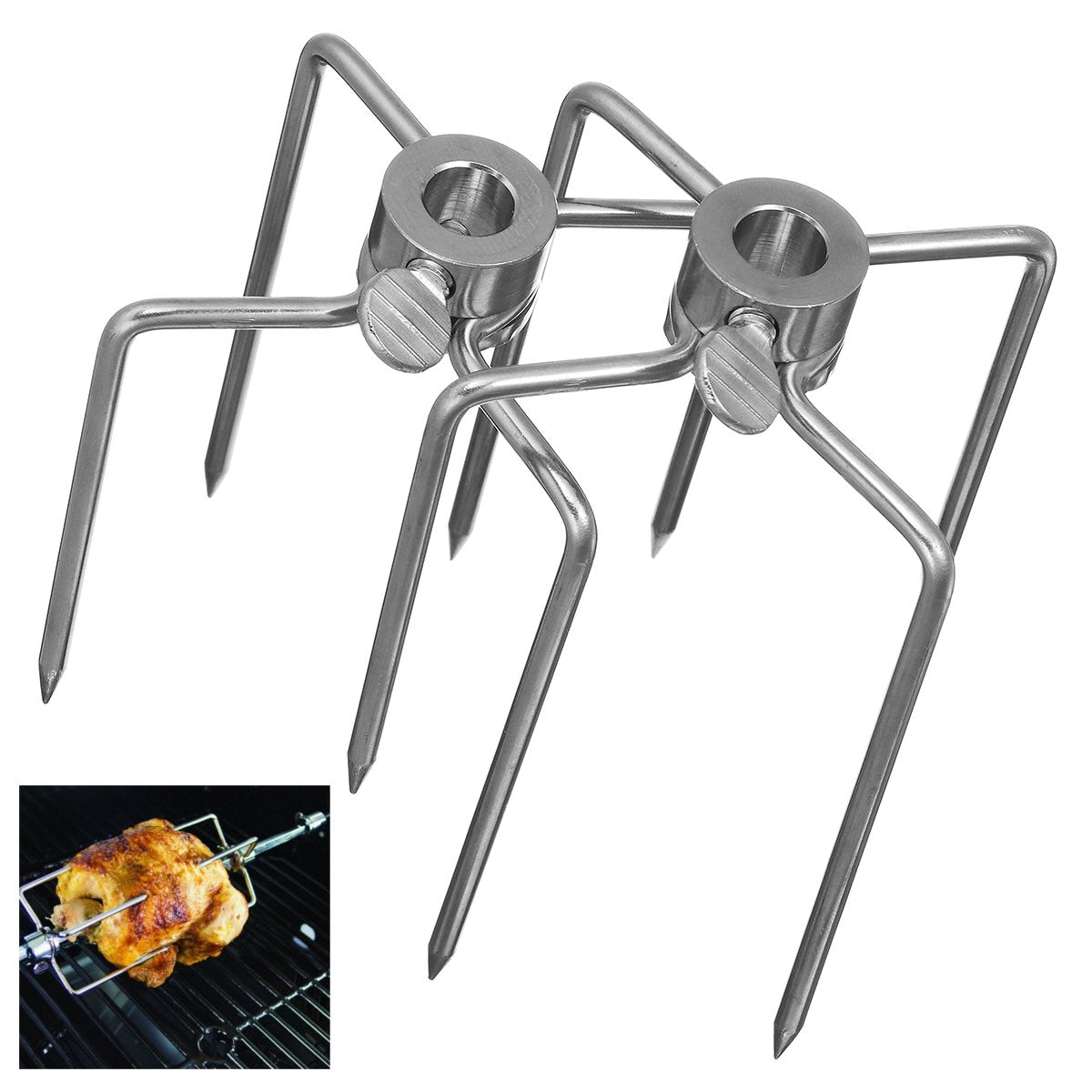 BBQ Forks 2Pcs/Set Stainless Steel Chicken Spit Fork
