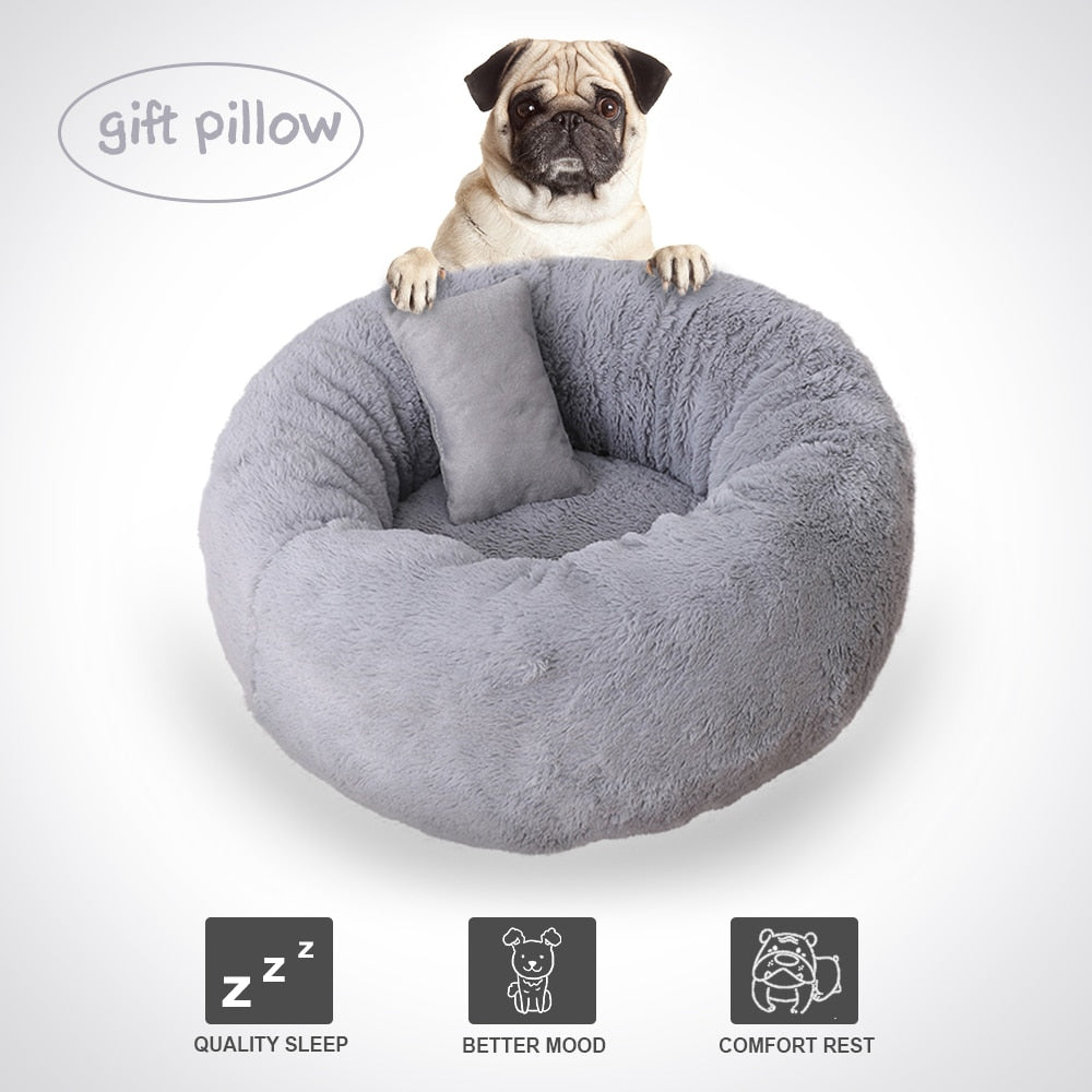 Fluffy Beds For Dog With Pillows Pet Lounger Cushion