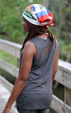 One Flag Nation™ Haitian Flag Bandana Back View of Girl on Bridge Looking to the Side