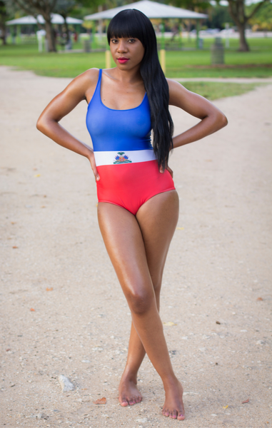 One Flag Nation™ Haitian Flag Bathing Suit Front
