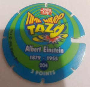 🤓 Time Warp Tazo || Frito Lay || 1996 || #204 || Albert Einstein || Pre-owned || Flat Item
