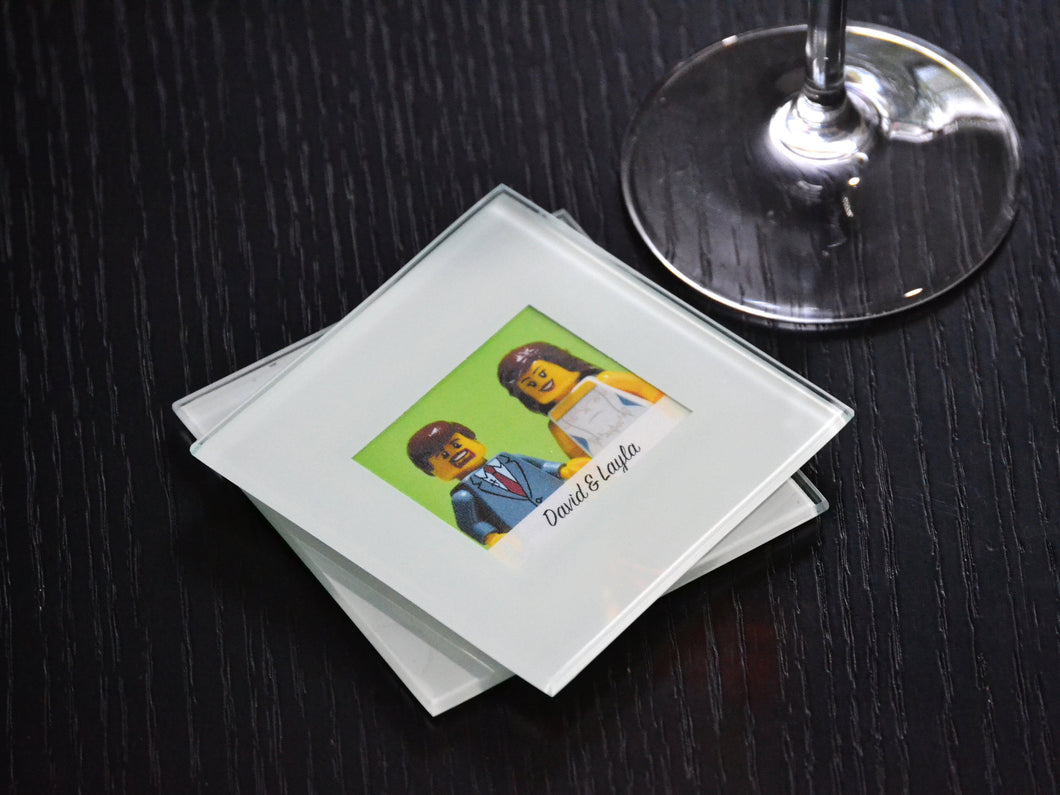 Bride and Groom Glass Coasters (Set of 2) - Lego® Wedding Gift