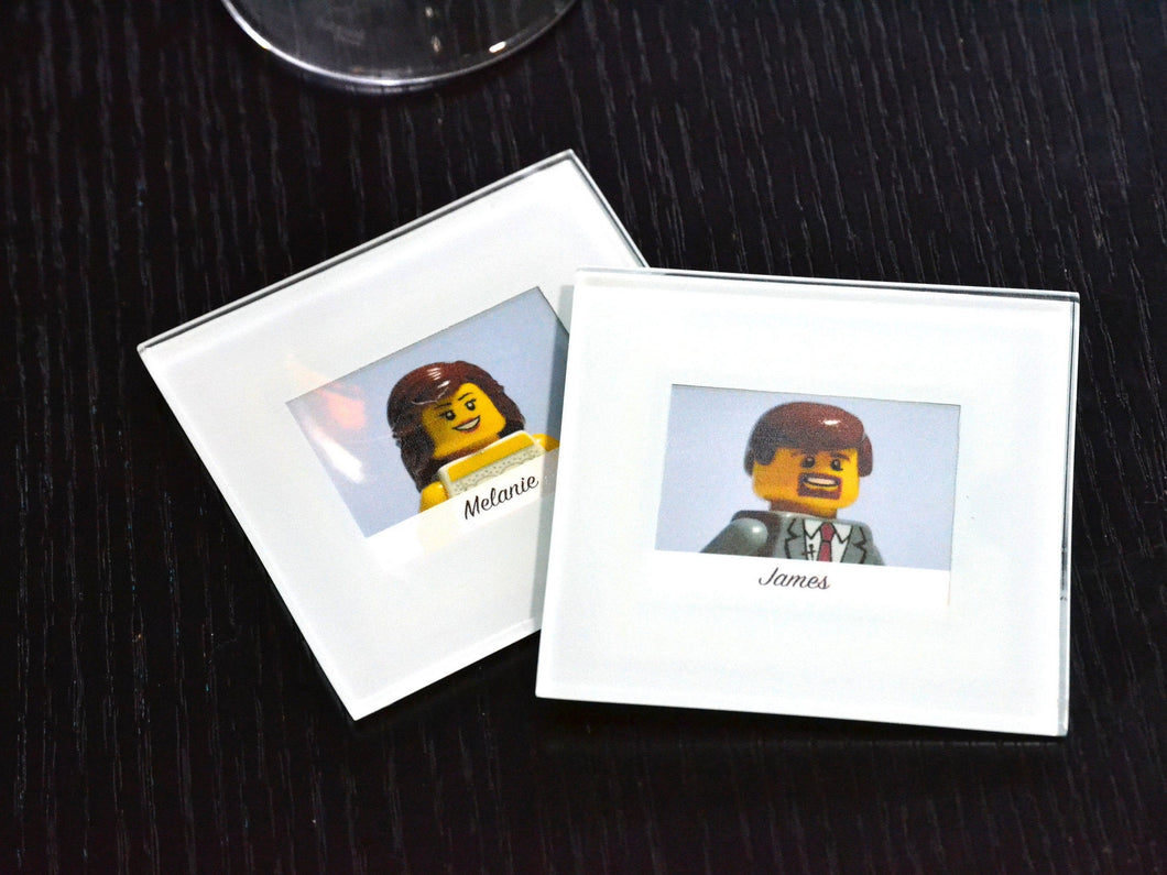 Wedding Glass Coasters (Set of 2) - Lego® Wedding Gift