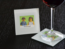Load image into Gallery viewer, Bride and Groom Glass Coasters (Set of 2) - Lego® Wedding Gift