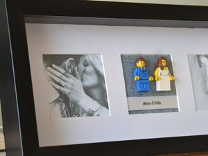 Lego® Wedding Couple Frame (Black) - With Custom Pictures