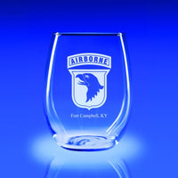 101st Airborne Division - 21 oz. Stemless Wine Glass Set