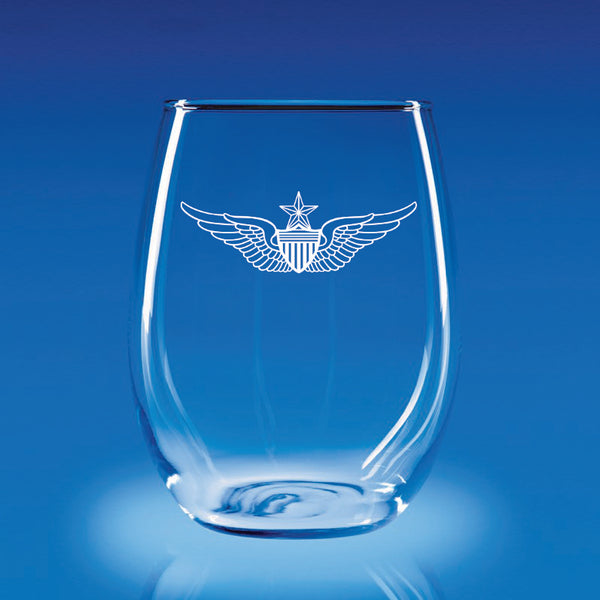 Army Aviation Wings Senior - 21 oz. Stemless Wine Glass Set