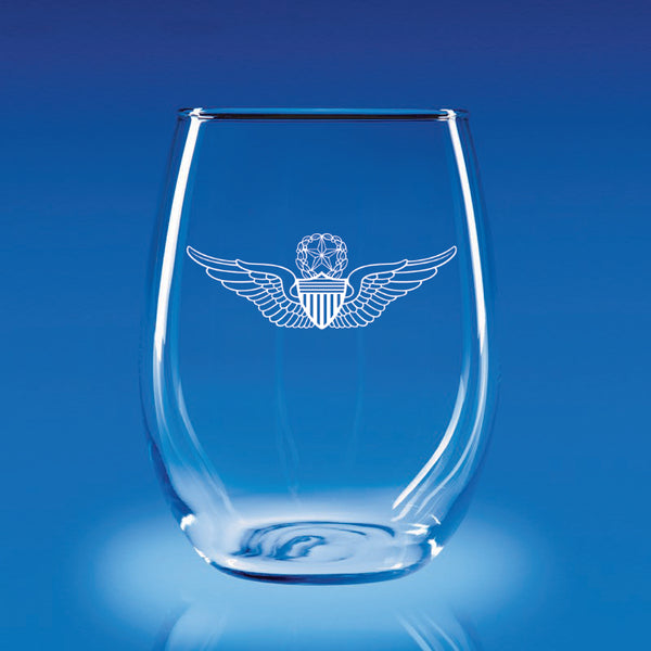 Army Aviation Wings Master - 21 oz. Stemless Wine Glass Set