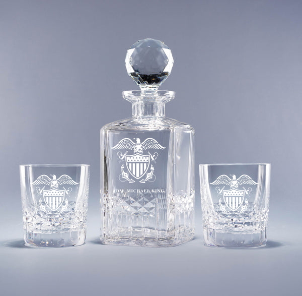 Genuine Crystal Decanter - Naval Officer's Crest (with free customization)