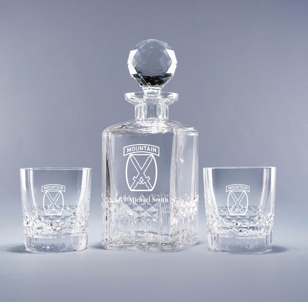 10th Mountain Division - Genuine Crystal Decanter (with free customization)