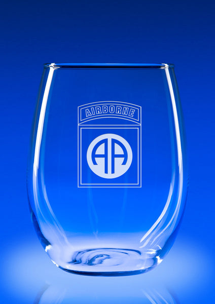 82nd Airborne Division - 21 oz. Stemless Wine Glass Set