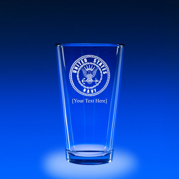 Navy Logo - 16 oz. Micro-Brew Glass Set