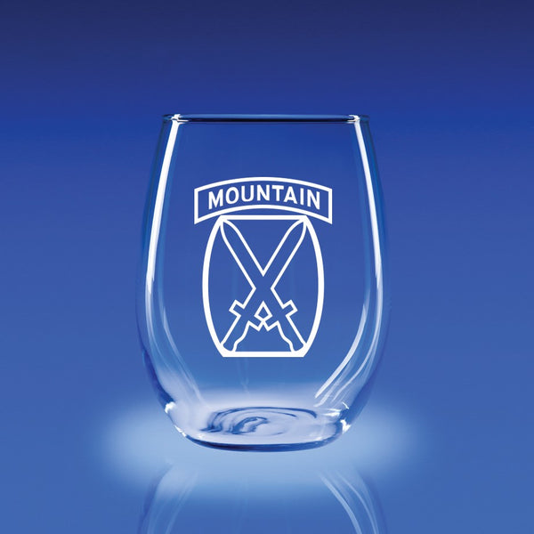 10th Mountain Division-21 oz. Stemless Wine Glass Set