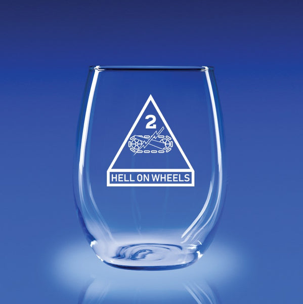 2nd Armored Division - 21 oz. Stemless Wine Glass Set