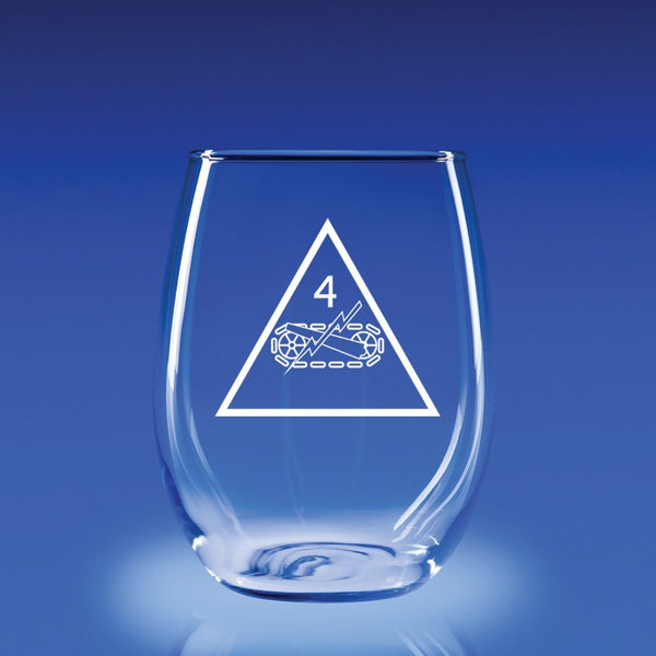 4th Armored Division - 21 oz. Stemless Wine Glass Set