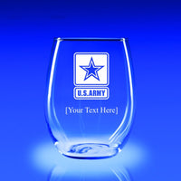 US Army Logo - 21 oz. Stemless Wine Glass Set
