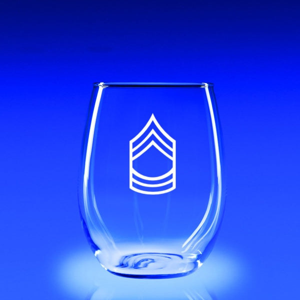 Army Master Sergeant - 21 oz. Stemless Wine Glass Set