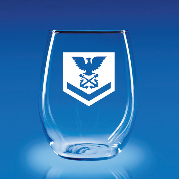 USCG Petty Officer 3rd Class (PO3) - 21 oz. Stemless Wine Glass Set