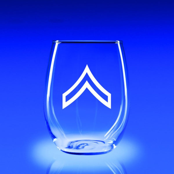 Army Corporal - 21 oz. Stemless Wine Glass Set